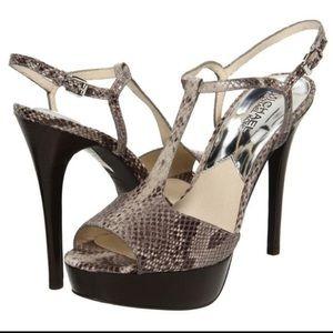 Michael Kors Felicia T-Strap Snakeskin Heels 9.5 M